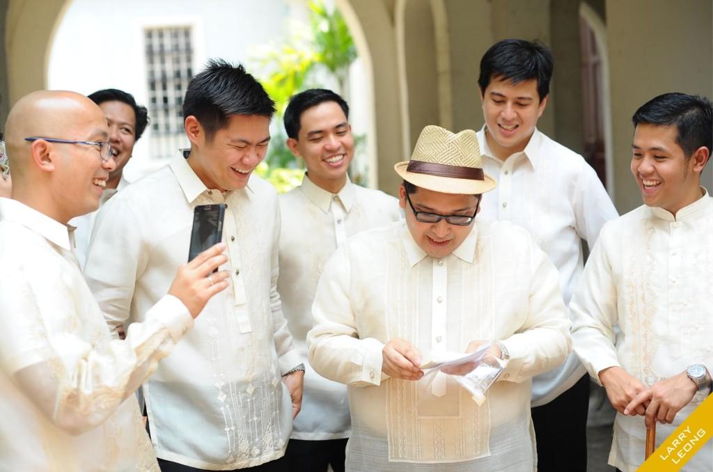 happy groom entourage